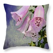 Fox Glove Blue Grunge Throw Pillow by Bill Cannon