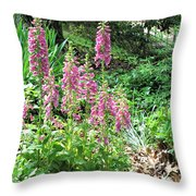 Foxgloves In My Garden Throw Pillow