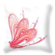 Fractal - Red Flow Throw Pillow