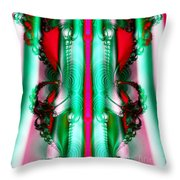 Fractal 29 Christmas Ribbons Throw Pillow