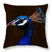 Fractalius Peacock Throw Pillow