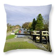 Fradley Middle Lock No. 18 Throw Pillow by Rod Johnson