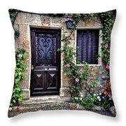 Framed In Flowers Dordogne France Throw Pillow