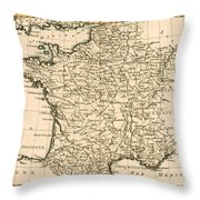 France By Regions Throw Pillow