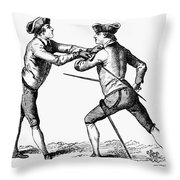 France: Fencing, C1750 Throw Pillow