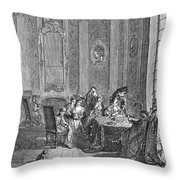 France: Gambling, C1750 Throw Pillow