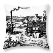 France: Steam Threshing Throw Pillow