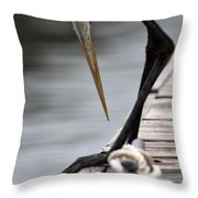 Fred The Great Blue Heron Throw Pillow