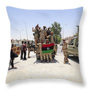 Free Libyan Army Troops Pose Throw Pillow
