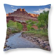 Fremont River And Castle Throw Pillow