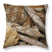 French Breads At A Bazaar In Provence Throw Pillow