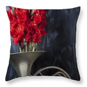 French Horn With Gladiolus Throw Pillow