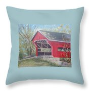 French Lick Covered Bridge Throw Pillow