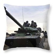 French Marines Lead A Convoy Of Combat Throw Pillow