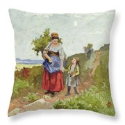 French Peasants On A Path Throw Pillow by Daniel Ridgway Knight