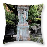 French Quarter Courtyard Statue New Orleans Ink Outlines Digital Art Throw Pillow