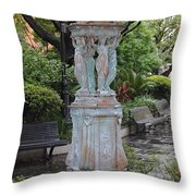 French Quarter Courtyard Statue New Orleans Throw Pillow