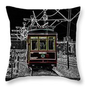 French Quarter French Market Cable Car New Orleans Color Splash Black And White With Glowing Edges Throw Pillow