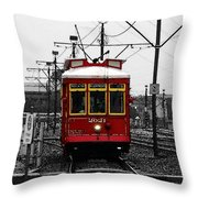 French Quarter French Market Cable Car New Orleans Color Splash Black And White With Watercolor Throw Pillow