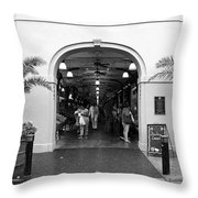 French Quarter French Market Entrance New Orleans Black And White Throw Pillow