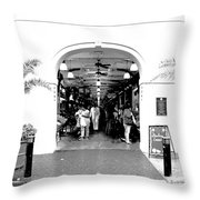 French Quarter French Market Entrance New Orleans Conte Crayon Digital Art Throw Pillow