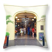 French Quarter French Market Entrance New Orleans Film Grain Digital Art Throw Pillow