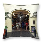 French Quarter French Market Entrance New Orleans Poster Edges Digital Art Throw Pillow