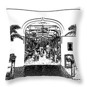 French Quarter French Market Entrance New Orleans Stamp Digital Art Throw Pillow
