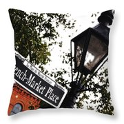 French Quarter French Market Street Sign New Orleans Diffuse Glow Digital Art Throw Pillow