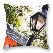 French Quarter French Market Street Sign New Orleans Film Grain Digital Art Throw Pillow