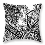 French Quarter French Market Street Sign New Orleans Photocopy Digital Art Throw Pillow