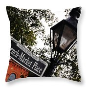 French Quarter French Market Street Sign New Orleans  Throw Pillow