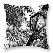 French Quarter French Market Street Sign New Orleans Stamp Digital Art Throw Pillow