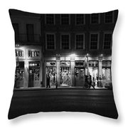 French Quarter Shopping At Night - Black And White Throw Pillow