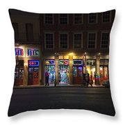 French Quarter Shopping At Night Throw Pillow