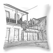 French Quarter Tavern Architecture New Orleans Black And White Photocopy Digital Art Throw Pillow