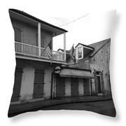 French Quarter Tavern Architecture New Orleans Black And White Throw Pillow