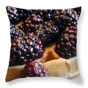 Fresh Blackberry Waffles Throw Pillow