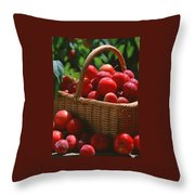 Fresh Red Plums In The Basket Throw Pillow