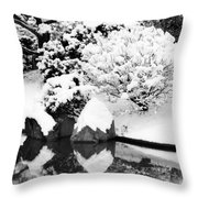Fresh Snow And Reflections In A Japanese Garden 1 Throw Pillow