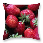 Fresh Strawberries Throw Pillow