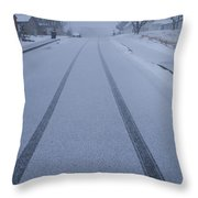 Fresh Tire Tracks In The Snow Throw Pillow