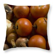 Fresh Tomatos And Onions From A Garden Throw Pillow