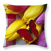 Fresh Tulips And Red Butterfly Throw Pillow