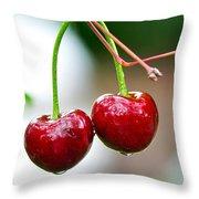 Fresh Wet Cherries Throw Pillow