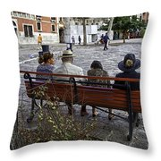 Friends On Park Bench Throw Pillow