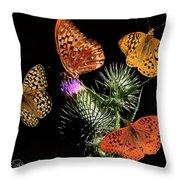 Four Fritillaries Throw Pillow