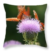 Fritillary Wings And Thistles Throw Pillow