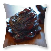 Frog And Rooster Throw Pillow