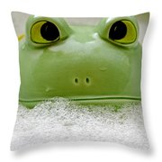 Frog In The Bath  Throw Pillow